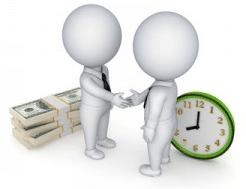 Deux personnages avec une horloge pour illustrer le temps partiel