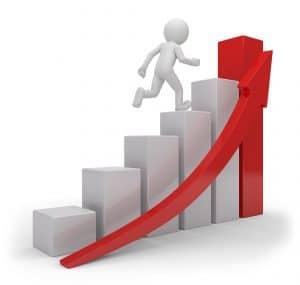dirigeant grimpant une courbe relation client