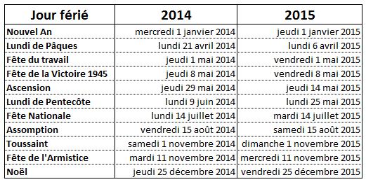 jours fériés 2014 - 2015