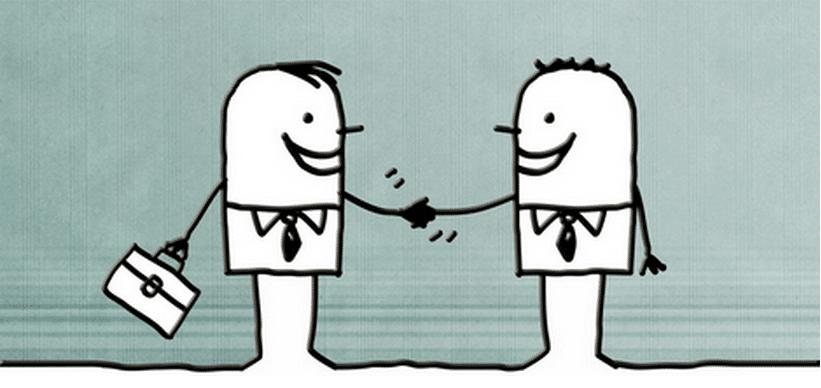 Deux personnages se serrant la main pour illustrer l'entretien professionnel