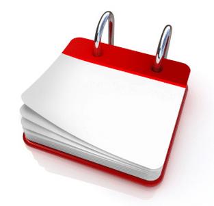 Calendrier vierge blanc et rouge pour illustrer l'échéancier en matière de cotisations au régime social des indépendants