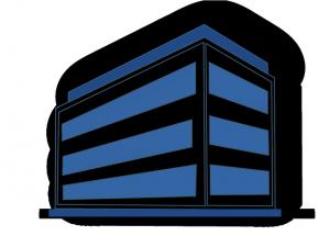 Immeuble bleu pour illustrer la reprise d'une entreprise