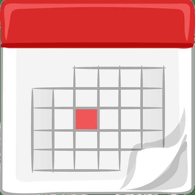 Calendrier blanc et rouge illustrant le renouvellement des élections des institutions représentatives du personnel tous les 4 ans