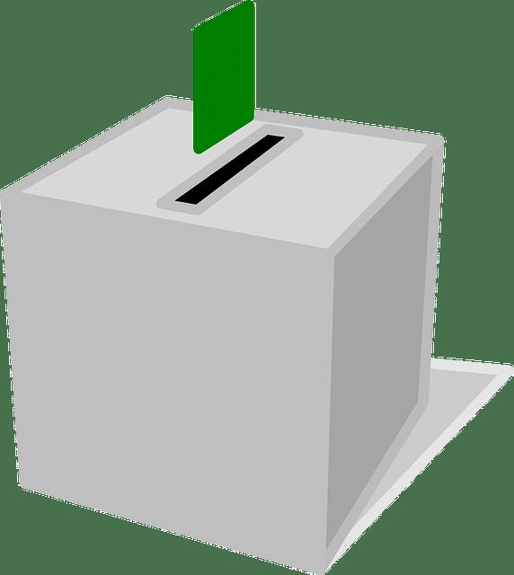 Urne et bulletin vert pour représenter le vote lors des élections des institutions représentatives du personnel