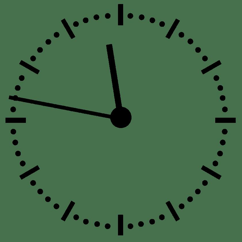 Horloge pour illustrer le temps partiel à 24h