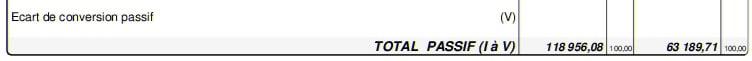 Passif du bilan : Le total bilan